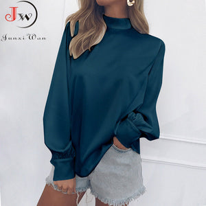 Solid Color Turtleneck Blouse - Long Sleeve