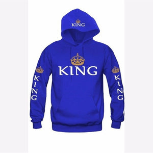 New Couple Hoody QUEEN KING Crown Printing Blue