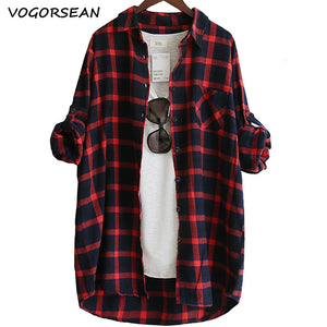 VogorSean Cotton Women Blouse Shirt Plaid