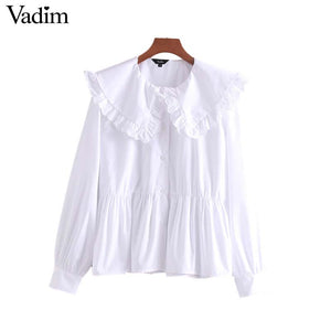 Vadim women oversized sweet ruffles white