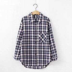 Fashion Women Plaid Shirt Chic Oversized Checked Blouse Long Sleeve