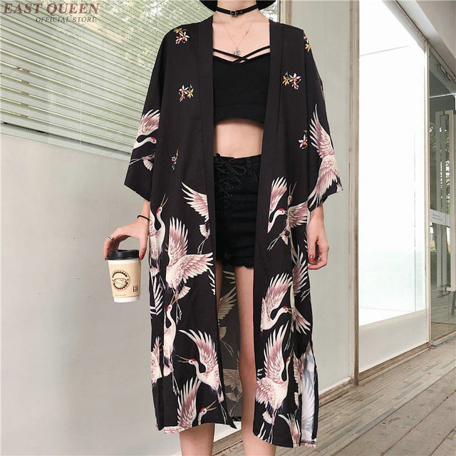 Kimono cardigan Womens tops and blouses Japanese streetwear