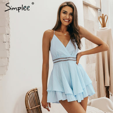 Simplee Sexy v-neck - playsuit Hollow out waist