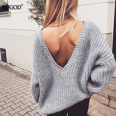 Rugod New Sexy Backless V-neck Sweater