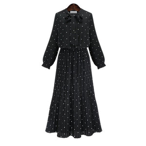 [EAM] Round Neck Long Sleeve Solid Black Chiffon dress