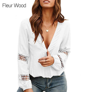 V Neck Blouses Women - Solid Blouse Shirt