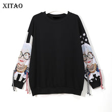 XITAO Black Long Sleeve Sweatshirts Women Patchwork Print