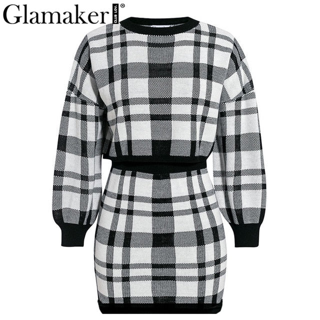 Glamaker Plaid knitted two-piece suit Dress