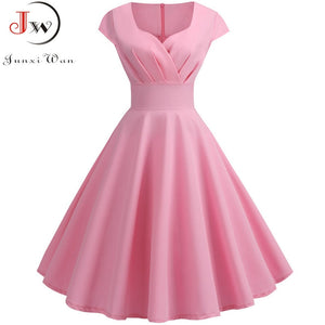 Pink V Neck Vintage Dress - Elegant Retro pin up