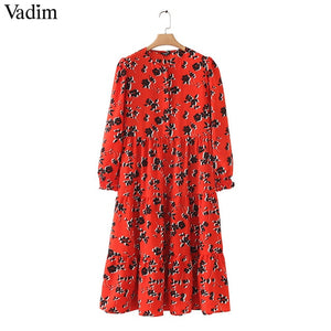 Vadim women floral print - mid calf dress long sleeve o neck