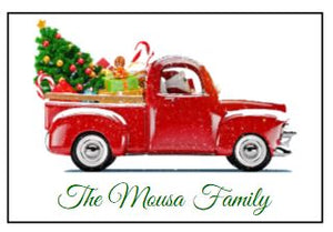 Enclosure Cards/Gift Tags - Vintage Truck and Tree with Family Name (set of 20)