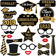 Photo Booth Props - Graduation Theme - Gold Glitter - Class of 2019