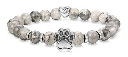 Natural Stone Paw & Heart Bracelet - Gray