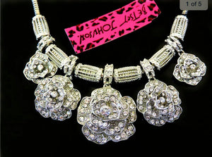 Betsey Johnson Rhinestone Roses Necklace