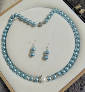 Light Blue South Sea Shell Pearl and Crystal Necklace and Earring Set