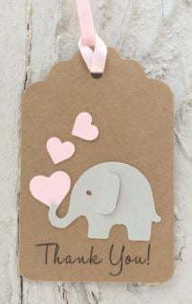 Favor Tag - Elephant - Thank You - Choice of color (set of 24)