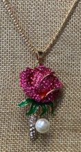Betsey Johnson Pink Rose Necklace with Pearl