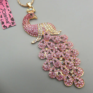 Betsey Johnson Peacock Necklace - Baby Pink