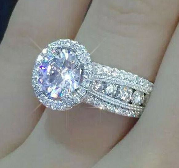 White Sapphire Halo Ring