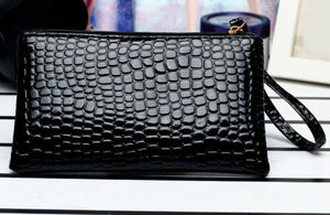 Crocodile Patterned Clutch/Cosmetic Bag