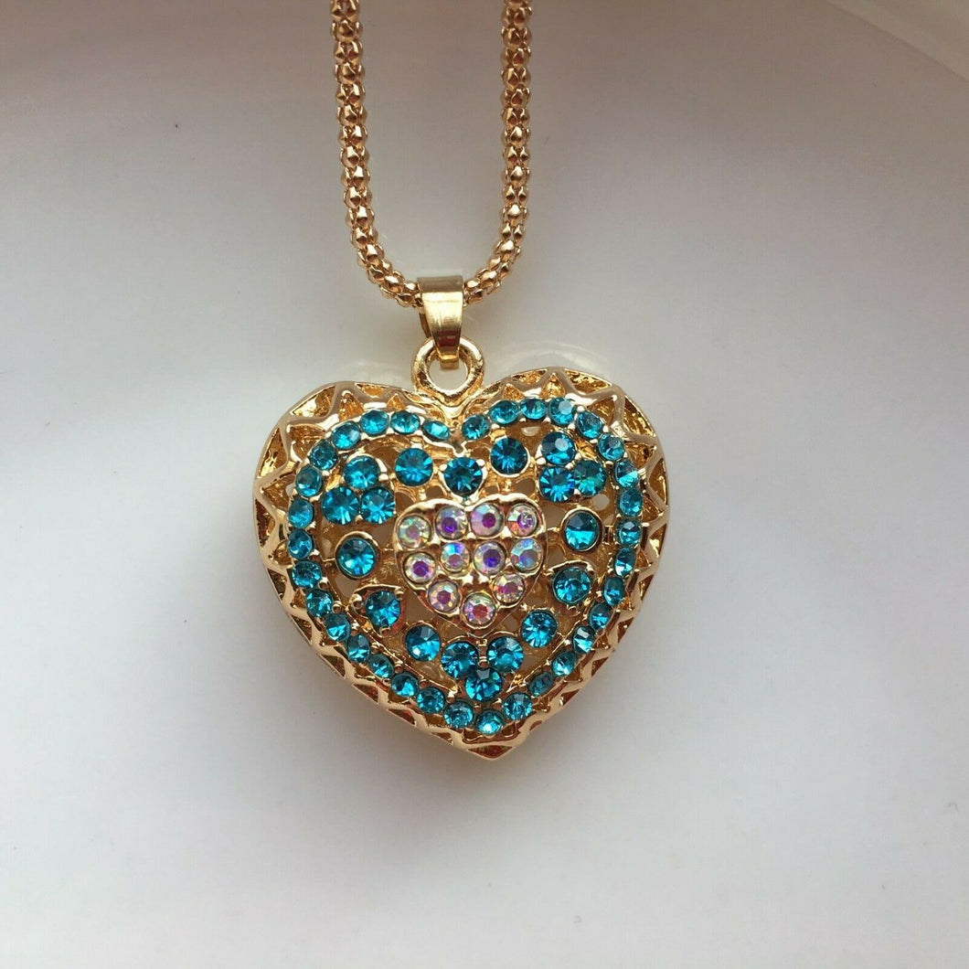 Betsey Johnson Heart Necklace - Aqua and Iridescent Crystals