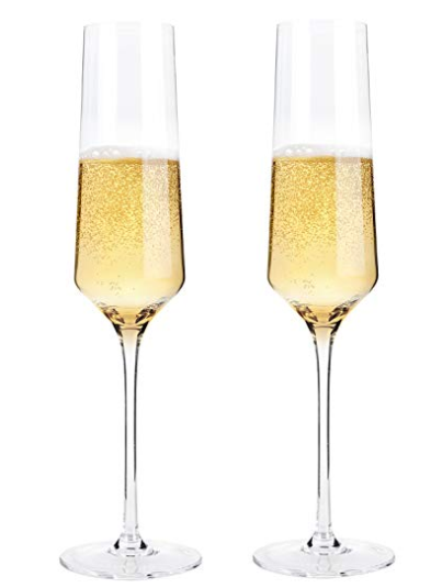 Crystal, Hand Blown Champagne Flutes (set of 2)