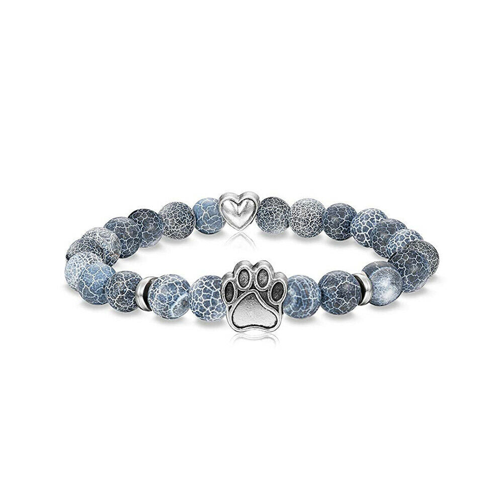 Natural Stone Paw & Heart Bracelet - Steel Blue