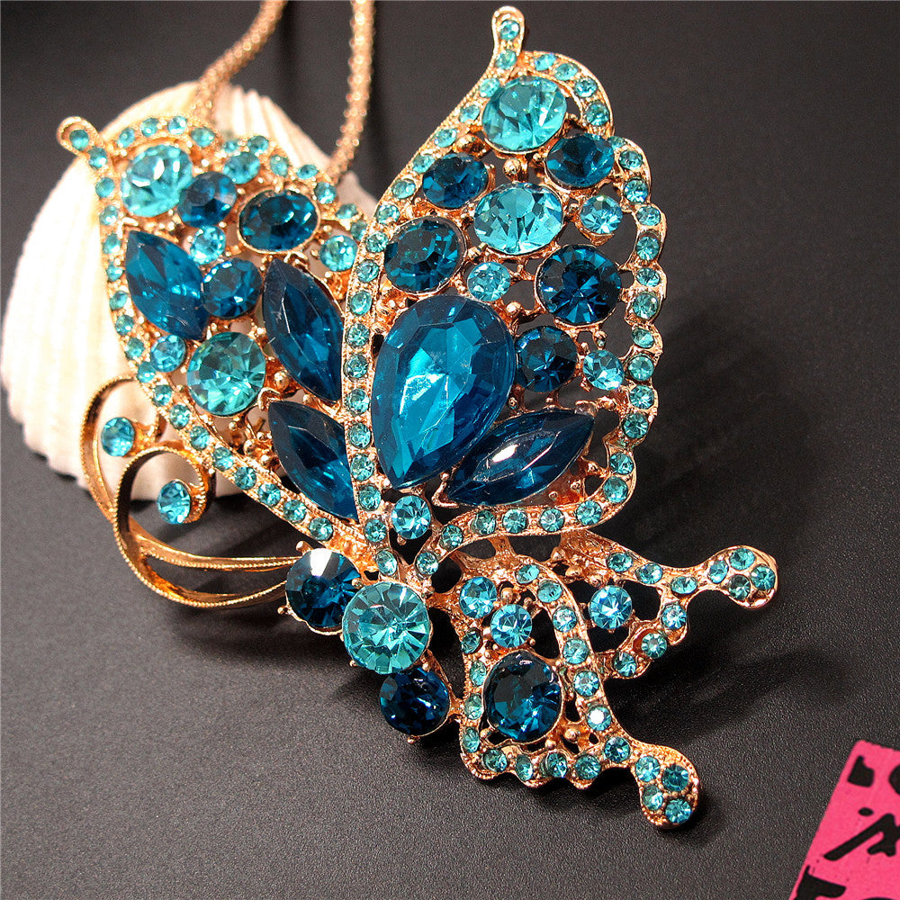 Betsey Johnson Butterfly Necklace/Brooch w/Teal Crystals