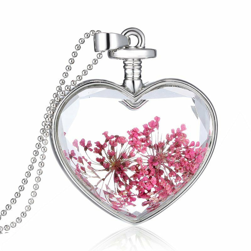 Glass Heart with Pink Pressed Flowers