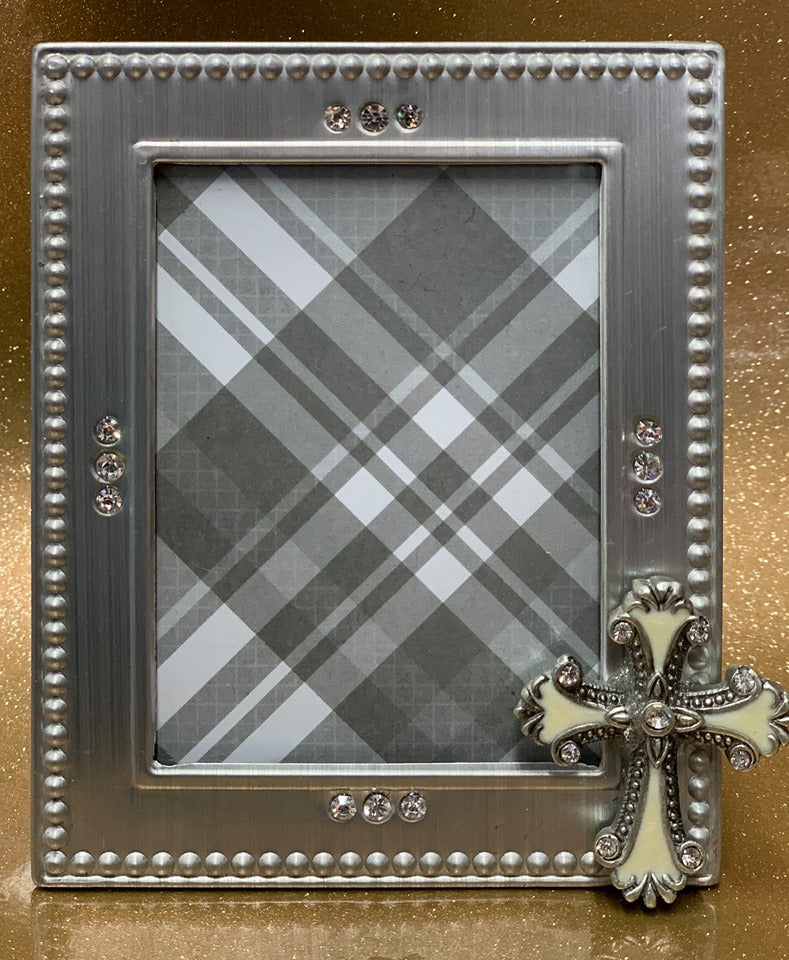 Frame with Cross and Rhinestones