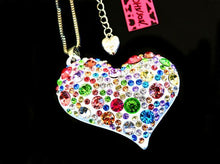 Betsey Johnson White Heart Necklace/Brooch with Colored Rhinestones