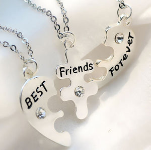 BFF for 3 Best Friends - Heart Puzzle with Clear Crystals (3 pc Set)