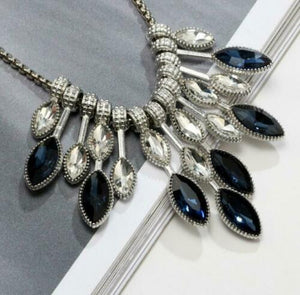 Blue and Crystal Teardrop Necklace