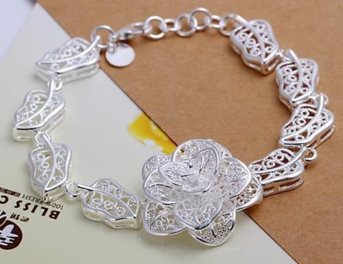 Open Flower with Leaf Link Bracelet