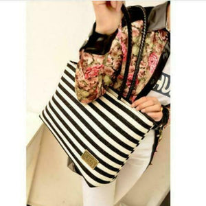 Striped Canvas Mini-Tote