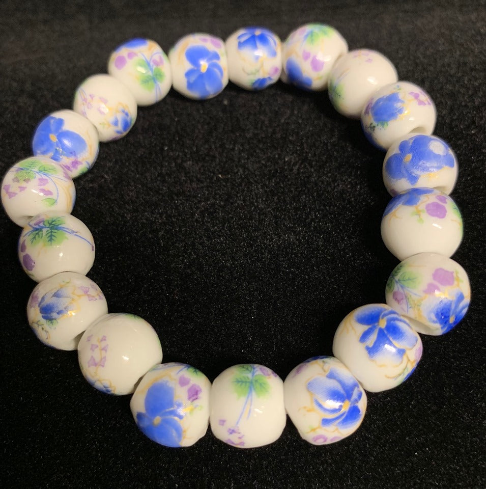 Porcelain Beaded, Hand Painted Floral Bracelet