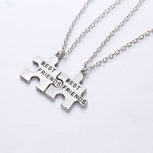 Best Friends Necklace Set - Squared Puzzle Pieces