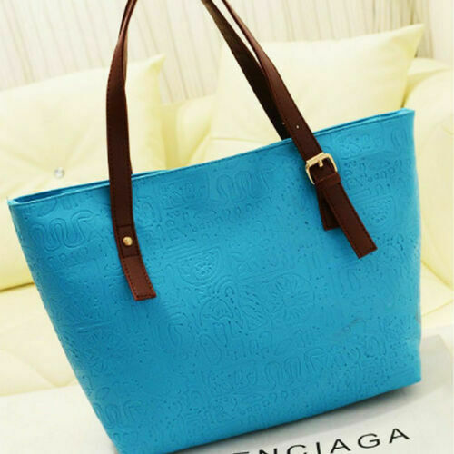 Blue Faux Leather Bag/Tote or Stroller Bag
