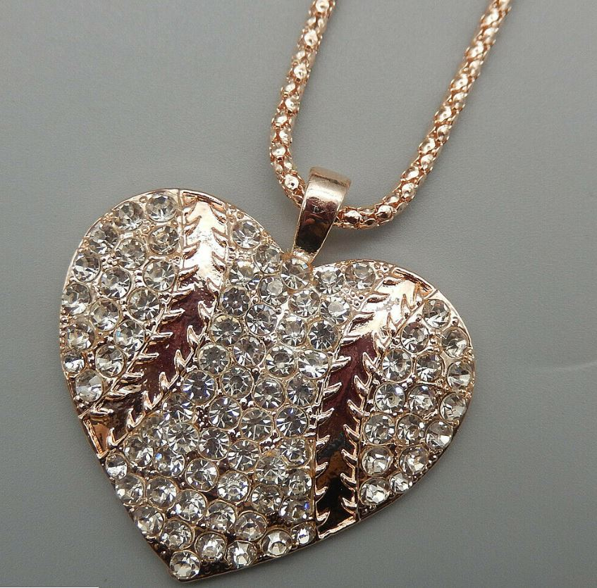 Betsey Johnson Baseball Heart Necklace - Silvertone or Rose Goldtone