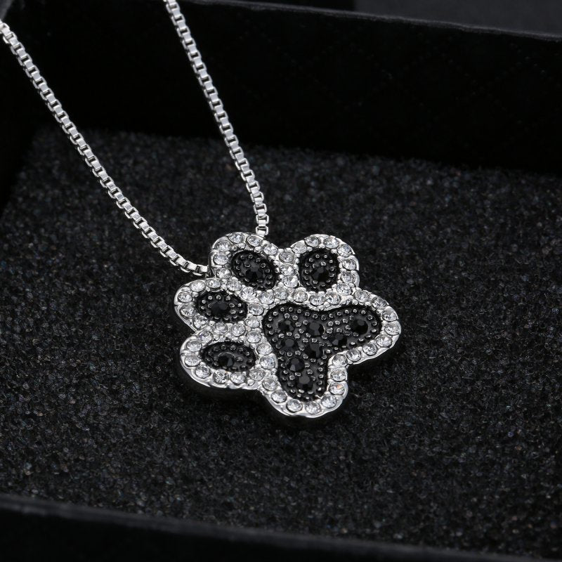 Rhinestone Dog Paw Necklace