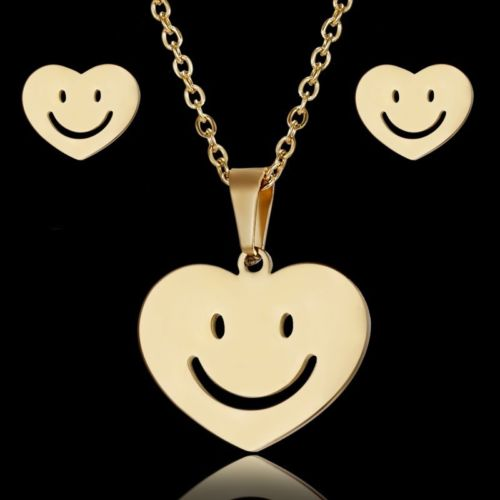 Smiley Heart Necklace & Earring Set