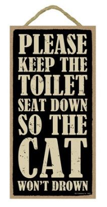 Bathroom Cat Wooden Sign