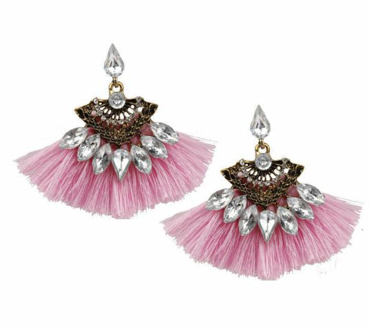 Pink Tassel and Rhinestone Earrings