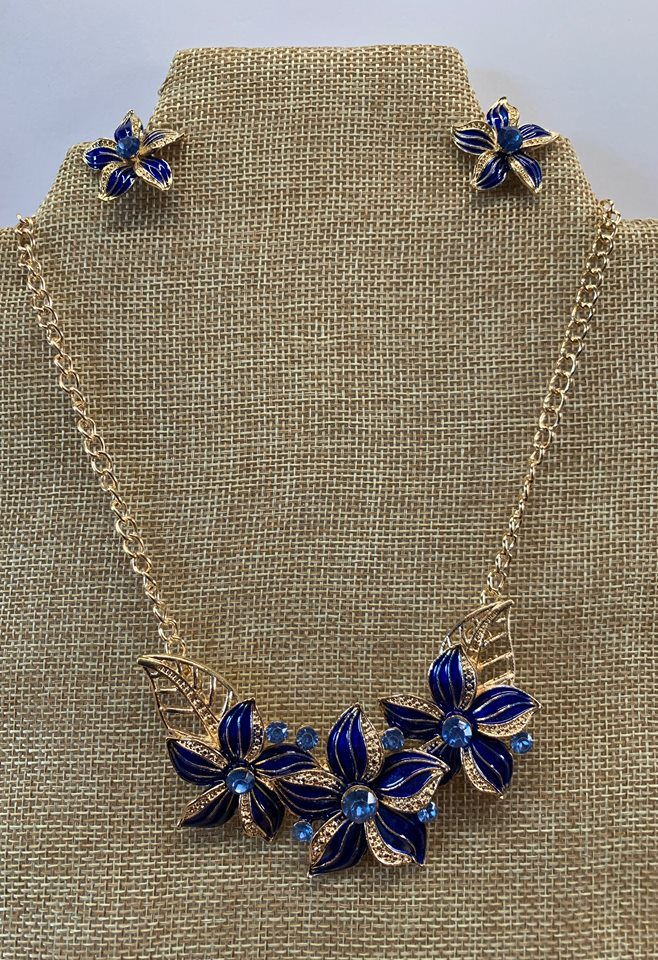 Blue Enamel Necklace and Earring Set