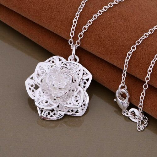 3D Silvertone Rose Necklace