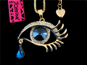 Betsey Johnson Evil Eye Necklace - Goldtone