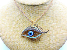 Betsey Johnson Evil Eye With Blue Lids Necklace - Gold Tone