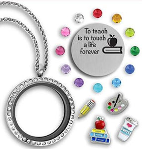 Teacher Charm Locket - Round with Choice of 2 Sayings