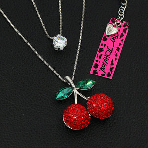 Cherry and Crystal Double Necklace