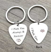Guitar Pick Engraved Keychain - I Pick You Always and Forever